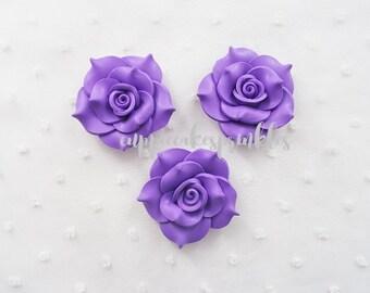 2pcs - Large Purple Fancy Clay Rose Decoden Cabochon (45mm) FXL10011