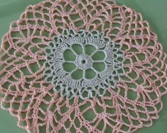 Round Peach/Ecru Crocheted Doily