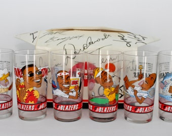 FREE SHIPPING! Vintage MINT Portland Trail Blazers Glasses Complete Set of 6 in Original Box from Dairy Queen