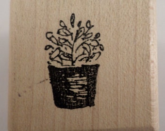 Stampassion 1999 Plant Wooden Rubber Stamp