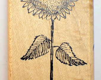 Stampassion 1999 For the Love of Sunflowers Wooden Rubber Stamp