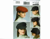 Newsboy Hats Military Caps Beret Driver Cabihat Vogue 9044 Uncut Sewing Pattern Sizes X-small 20 1/2 Small 21 1/2 medium 22 1/2 Large 23 1/2