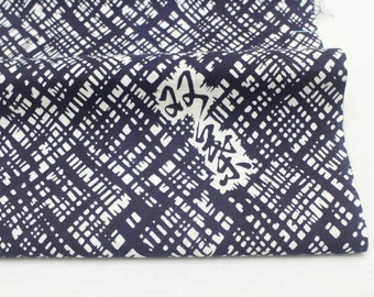 Japanese Vintage Yukata Cotton. Full Fabric Bolt for Traditional Clothing. Black Blue White Kanji Abstract (Ref: 1612 )