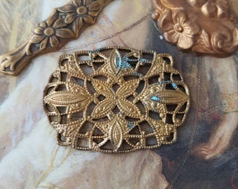 3 Pretty Vintage Floral Ornate & Filigree Old Brass Pieces