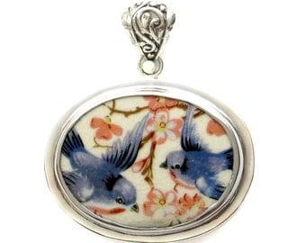 Broken China Jewelry Vintage Blue Bird Bluebird Couple Horizontal Oval Sterling Pendant