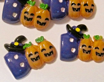 Halloween Jack O Lantern Cabochons Embellishments Lot of 2