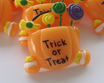 Halloween Candy Trick or Treat Cabochons Embellishments Lot of 2