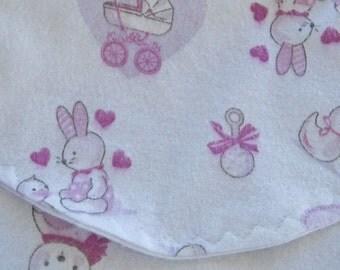 Pink Baby Animal Flannel Burp Cloths Baby Girl