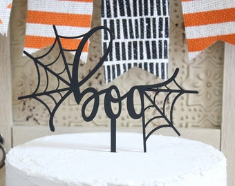 boo Cake Topper Halloween Cake Topper Halloween Party Decor Spider Web
