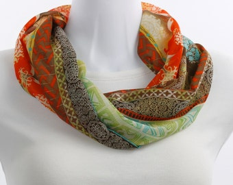Infinity Scarf -Subtle Gold Thread and Vibrant Orange, Mustard Yellow, Blue, Green, Brown, Cream  ~ SH270-S1