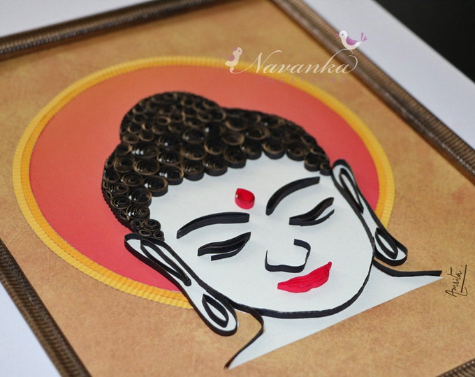 Buddha Wall Art with Paper Quilling, Buddhism, Housewarming, Buddha Home Decor Paper Quilled Buddha Art Wall Hanging Yoga Fathers Day