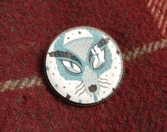 Glass Brooch Pin - Cosmic Wolf