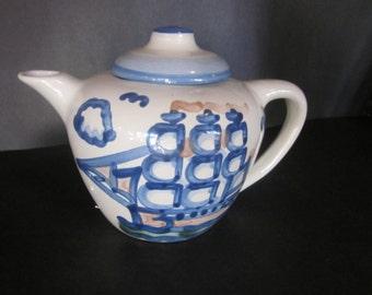 large hadley teapot. sailboat, pirate ship, ships, hadley pottery,