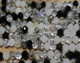 Tiaria Chinese Crystal Designer Glass Rondelle Faceted Beads 8 inch strand mixed beads black clear and white