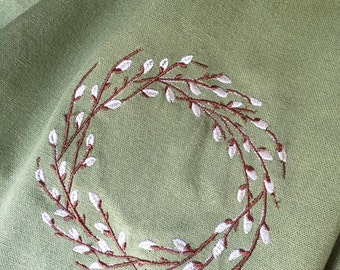 Pussywillow wreath embroidered towel