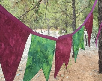Purple and Green Batik Prayer Flags, Wedding Decor, Banner, Bunting