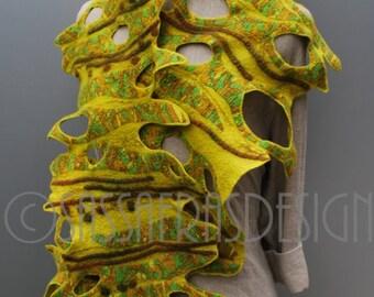 Felted shawl, shawl, wrap, OOAK wearable art accessory, outstanding handmade fashion, women's statement accessories
