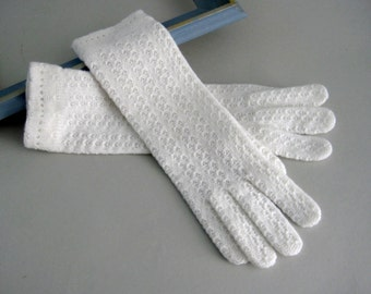 1960's Ladies Gloves, Ladies White Gloves, Women's Gloves, Retro Mid Century