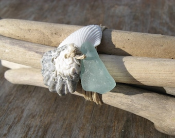 BEACH COTTAGE Driftwood Bundle Beach Decor w/ beach glass and Seashell  ZEN