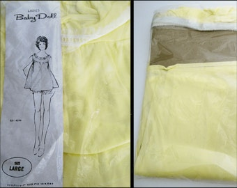 Vintage 1950s Baby Doll Set//NOS//50s Baby Doll//Sensuous//Yellow//1950s Baby Doll//