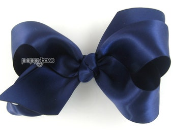 "Girls Hair Bow - 4 Inch Satin Hair Bow - Navy Blue hair bow - toddler hair bow - baby girls hairbow - big hair bow 4"" hair bows boutique"