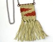 Loom Woven Pendant Necklace Handwoven Pendant Textile Jewelry Beige Red
