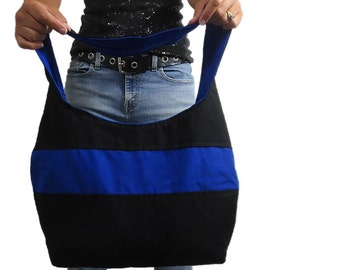 Thin blue line purse hobo bag. Black purse with blue line for police support. Choose medium or large purse and shoulder or cross body strap.