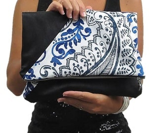 fold over clutch over sized. paisley and leather handbag. trending cobalt blue combined with classic black. Fall fashion.