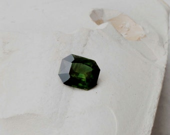 Green Sapphire Emerald Cut 2.65 Carats for Engagement Ring September Birthstone