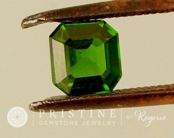 Asscher Cut Tsavorite Square Garnet 6 MM Square  Fine Engagement Ring