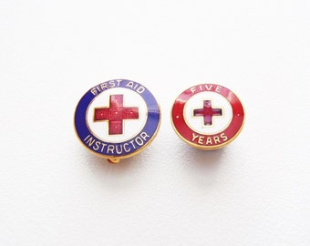 American Red Cross Enamel Lapel Pins Lot of 2 Two ARC Pins: First Aid Instructor Pinback & Five Years Clutchback Vintage 1960s Signed W + WA