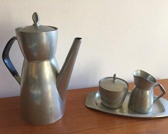 Vintage Brødrene Mylius Norwegian Pewter Coffee Pot, Creamer and Sugar Bowl with Tray, Mylius Design, BM Pewter, Scandinavian Design