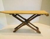 antique ironing board, table top iron board, child size, rustic primitive farmhouse, laundry room decor