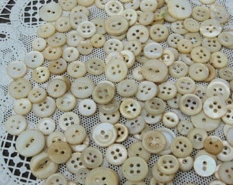 antique shell buttons, shades of white, quilters buttons, mother of pearl, 200 buttons