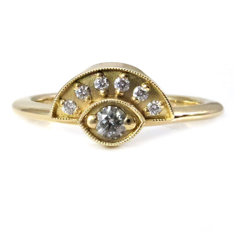 gold and evil eye ring 18k yellow gold handmade