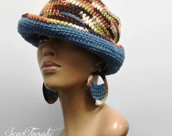 PATTERN ONLY Easy Crochet Sun Hat/ Cloche/ Sailor Hat/ Fedora/ Cow Girl Hat matching earrings and carry all bag not included in pattern