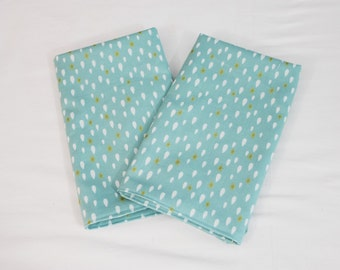 Gold and Blue Teardrops Cloth Napkins - Double Sided, Thick and Large - set of 2