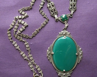 Antique Sterling Silver Chrysoprase Marcasite Necklace Art Deco Jewelry