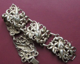 ON SALE Antique Danecraft Sterling Silver Flower Panel Bracelet Jewelry