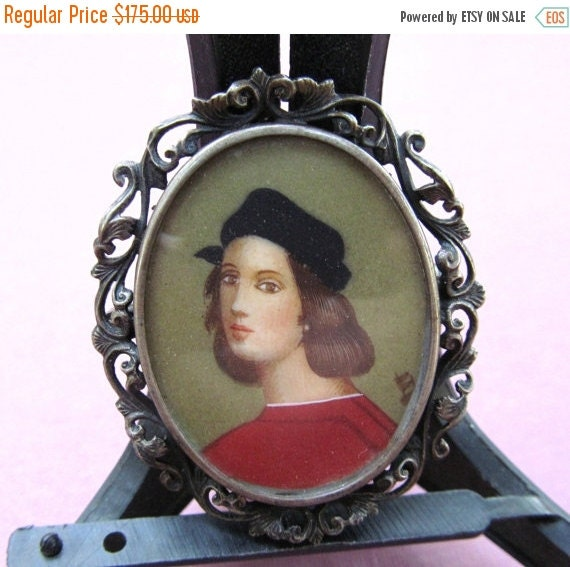 On Sale Antique Hand Painted Miniature Brooch 800 Silver Italian Painter Raphael