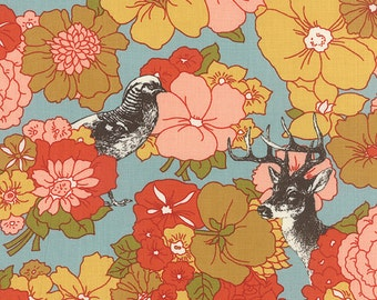 SALE Nomad Meadow in Sky - 31100-18 by Urban Chiks for Moda Fabrics Deer Flowers Owl Wildlife Sale, One Yard More Available