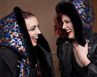Metallic lace & Black Velvet with midnight Black super soft luxury faux fur. hood snood hat scarf collar covered buttons