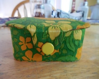 Vintage 1950s Fabric Covered Box Snap Front Closure Orange/Green/Yellow Flowers/Floral Small Dresser Trinkets Retro