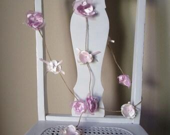 Fabric flower garland, Rustic Wedding decoration, Garland, Shabby chic flower decoration, Blush pink garland, Party decorations