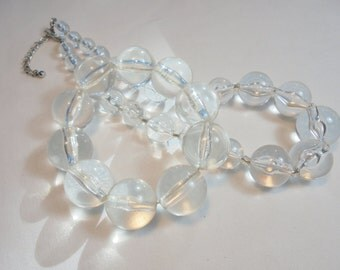 Vintage Clear Acrylic / Lucite Necklace/Bracelet POP ART Retro Art Deco Statement Runway Chunky Large