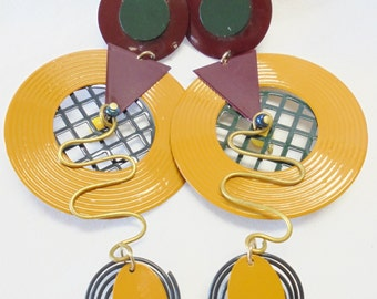 "Vintage Enamel Earrings 4.5"" Dangle POP ART Space Age Mod Abstract 1960's/1970's HUGE Mid Century Retro Art Deco"
