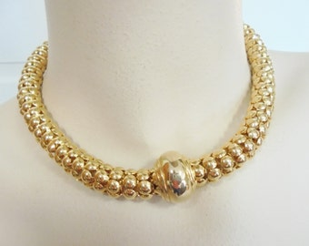 Vintage Pendant Collar Necklace / Choker Gold Plated Tone Magnetic Clasp 74 Grams Mod Boho Mid Century Statement