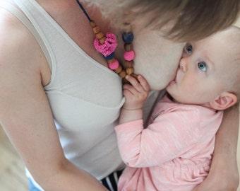 Navy & Pink Flower Mama Nursing Necklace / Teething Necklace for mom to wear / Mommy Jewellery / Breastfeeding Babywearing - KangarooCare