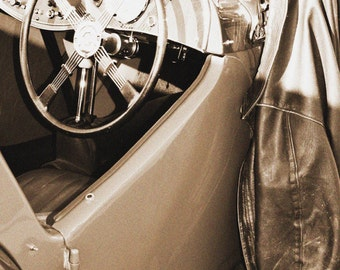 INSTANT DOWNLOAD, Classic MG Roadster Photo Steering Wheel with Jacket, 5x7 Sepia