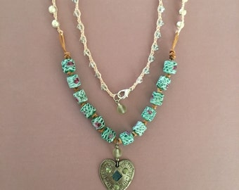 Springtime heart pendant necklace